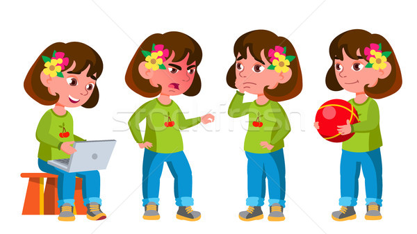 Girl Kindergarten Kid Poses Set Vector. Preschool, Childhood. Friend. For Postcard, Cover, Placard D Stock photo © pikepicture