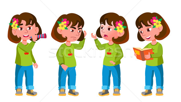 Girl Kindergarten Kid Poses Set Vector. Little Child. Having Fun. Motherhood. For Advertisement, Gre Stock photo © pikepicture