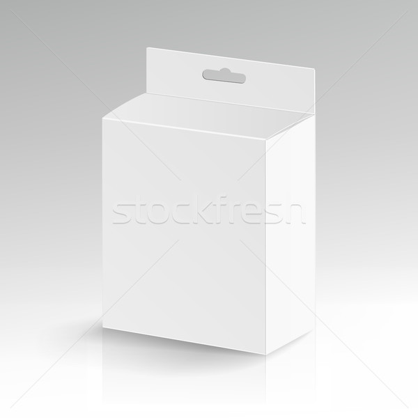 White Blank Cardboard Rectangle Vector. Realistic White Package Stock photo © pikepicture