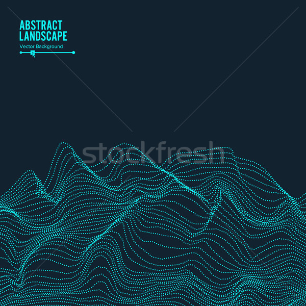 Abstract Landscape Background. Array With Dynamic Particles. Vector Illustration Stock photo © pikepicture
