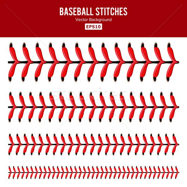 бейсбольной Швы вектора набор красный кружево Сток-фото © pikepicture