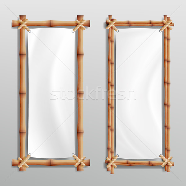Bamboo Frame Realistic. Vector Bamboo Stems With Rope And Paper Or Silk Canvas. Stock photo © pikepicture