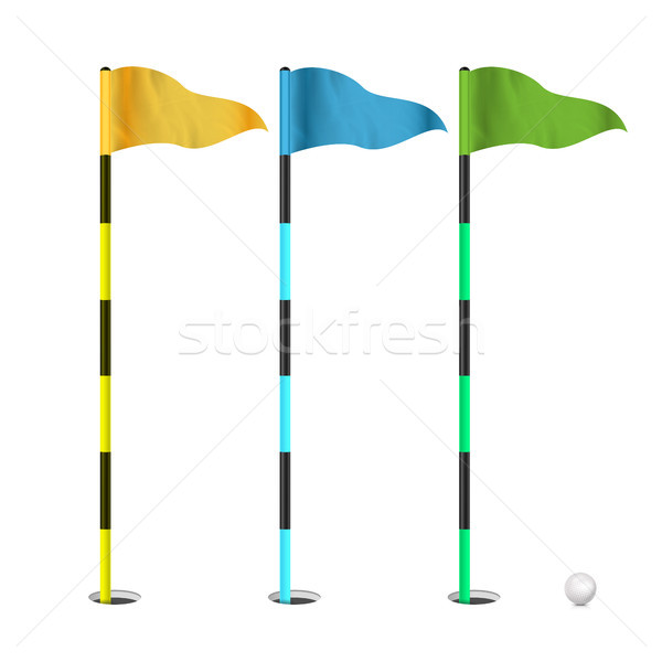 Golf Flags Vector. Realistic Flags Of The Golf Course. Isolated Illustration. Stock photo © pikepicture