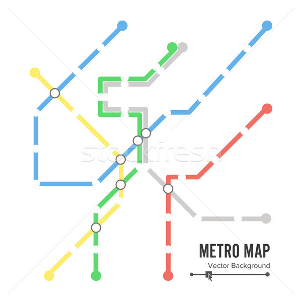 Stock photo: Metro Map Vector. Subway Map Design Template. Colorful Background With Stations