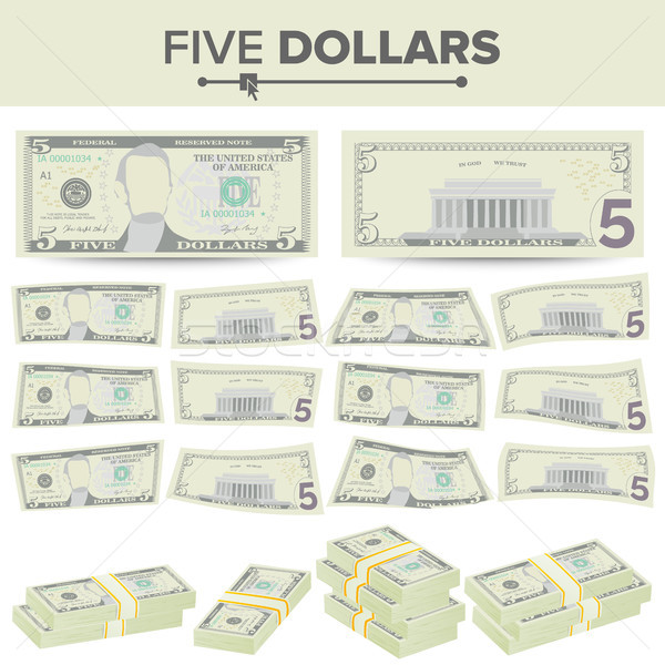 5 Dollars Banknote Vector. Cartoon US Currency. Two Sides Of Five American Money Bill Isolated Illus Stock photo © pikepicture