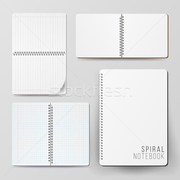 Espiral vacío bloc de notas establecer plantilla Foto stock © pikepicture