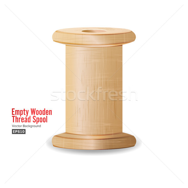 Empty Wooden Thread Spool. Classic Old Bobbin. Isolated On White Background For Needlework And Needl Stock photo © pikepicture