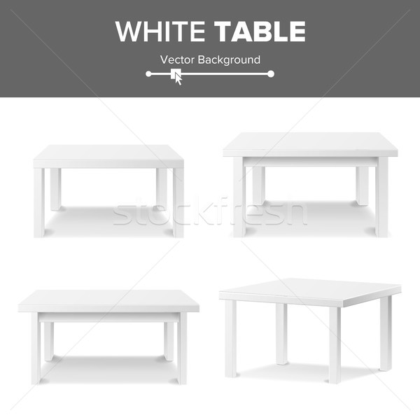 Empty White Plastic Table Set Isolated On White Background. Realistic Platform. Vector Illustration. Stock photo © pikepicture