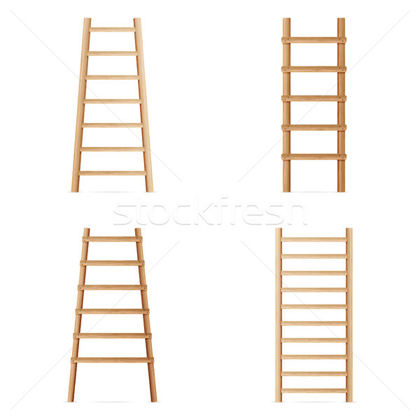 Wooden Step Ladder. Vector Set Of Various Ladders. Classic Staircase Isolated On White Background. R Stock photo © pikepicture