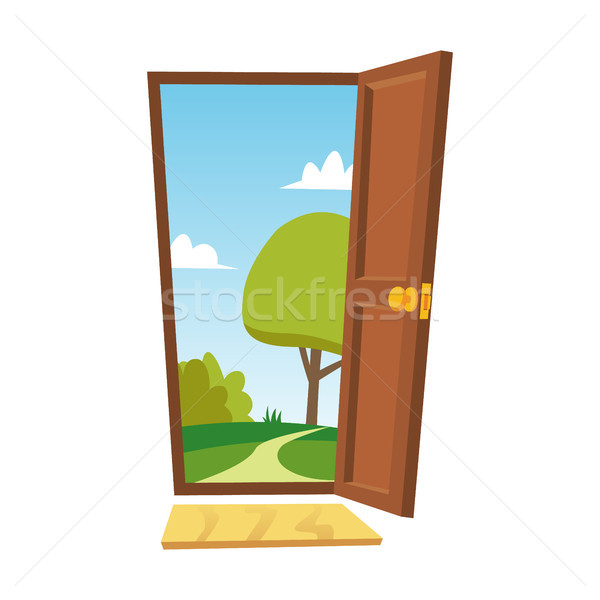 Opened Door Vector. Cartoon Flat Summer Landscape. Front View. Freedom Concept. Isolated Illustratio Stock photo © pikepicture