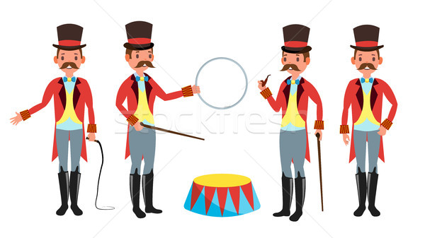 Circus Trainer Vector. Whip In His Hand. Classic Black Hat. Retro Flat Cartoon Illustration Stock photo © pikepicture
