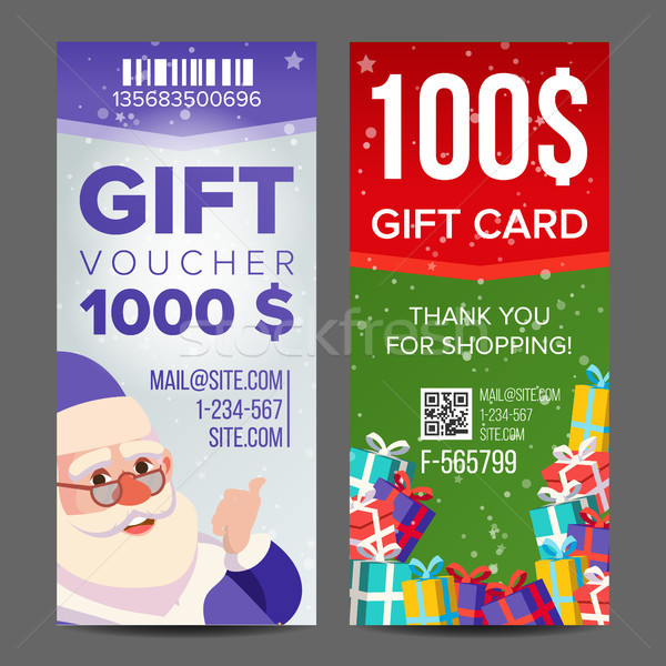 Voucher Coupon Template Vector. Vertical Leaflet Offer. Merry Christmas. Happy New Year. Santa Claus Stock photo © pikepicture