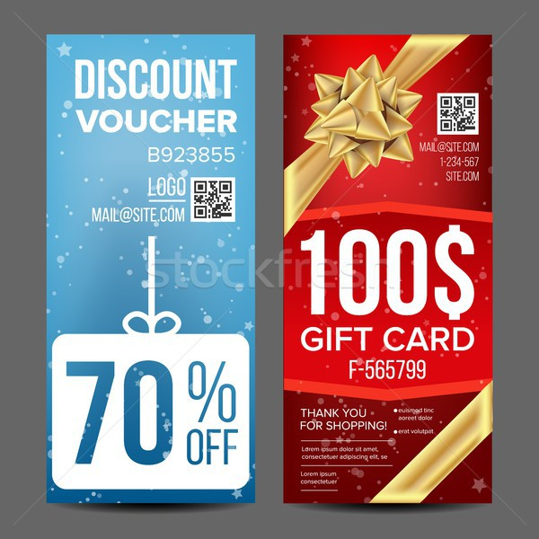 Gift Voucher Vector. Vertical Coupon. Shopping Advertisement. Discount Coupon. Business Gift Illustr Stock photo © pikepicture