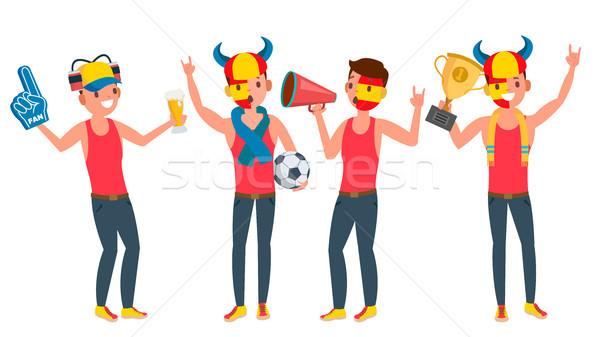 Deportes equipo vector chicos aficionados ánimo Foto stock © pikepicture