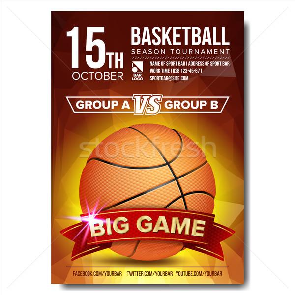 Koszykówki plakat wektora piłka projektu sportu Zdjęcia stock © pikepicture