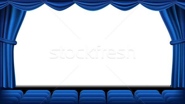 Auditorium With Seating Vector. Blue Curtain. Theater, Cinema Screen And Seats. Stage And Chairs. Bl Stock photo © pikepicture