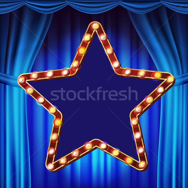 Retro csillag óriásplakát vektor kék színház Stock fotó © pikepicture