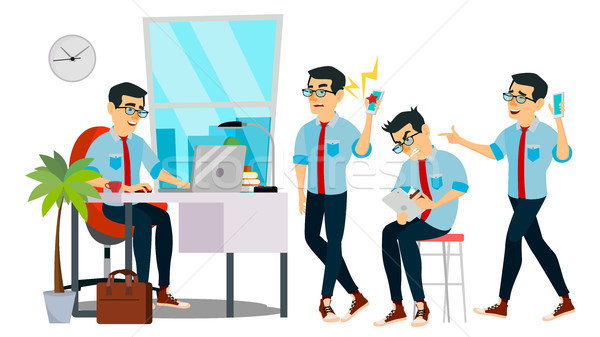 Business Man Character Vector. Working Asian Male. IT Startup Business Company. Environment Process. Stock photo © pikepicture