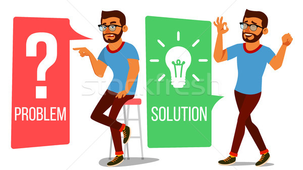 Man Solving Problem Vector. Problem Solution, Secret Discovery. Career Success. Decision Problem, So Stock photo © pikepicture