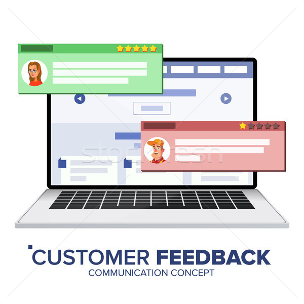 Customer Review On Laptop Vector. Speech Bubbles. Feedback Experience. Store Web Page. Isolated Flat Stock photo © pikepicture