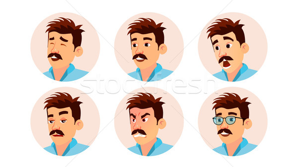 Italian Man Avatar Vector. Creative Italian Man Face, Emotions Set. Character Business People. Carto Stock photo © pikepicture