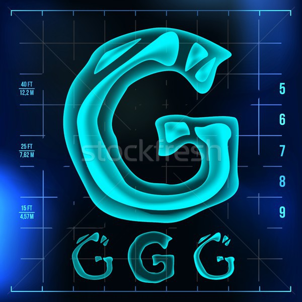 G Letter Vector. Capital Digit. Roentgen X-ray Font Light Sign. Medical Radiology Neon Scan Effect.  Stock photo © pikepicture