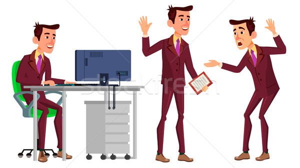 Stock photo: Office Worker Vector. Face Emotions, Various Gestures. Business Worker. Career. Professional Workman