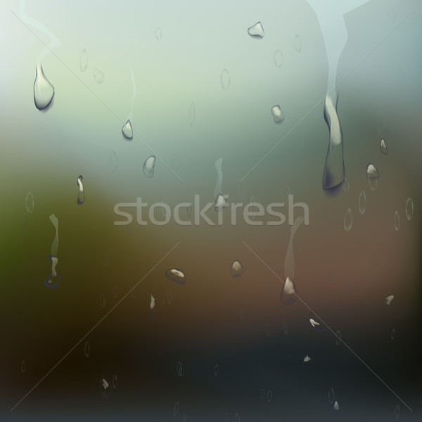 Wet Glass Vector. Water Drops. Clear Vapor Water Bubbles. Realistic Illustration Stock photo © pikepicture