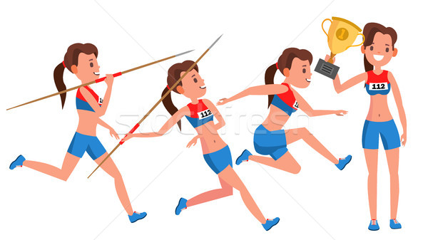 Athletics Young Woman Player Vector. Sport Concept. Jogging Race. Sportswear. Individual Sport. Girl Stock photo © pikepicture