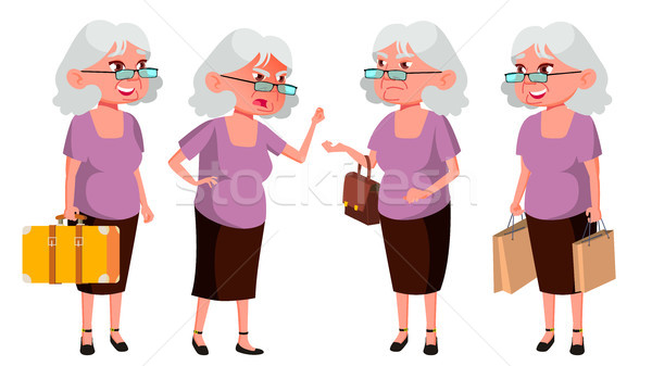 Old Woman Poses Set Vector. Elderly People. Senior Person. Aged. Active Grandparent. Joy. Web, Broch Stock photo © pikepicture