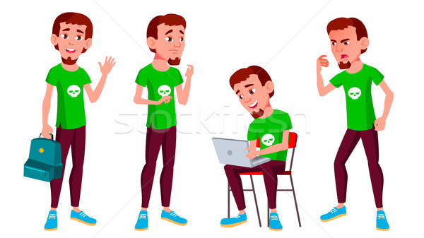 Teen Boy Poses Set Vector. Active, Expression. For Presentation, Print, Invitation Design. Isolated  Stock photo © pikepicture