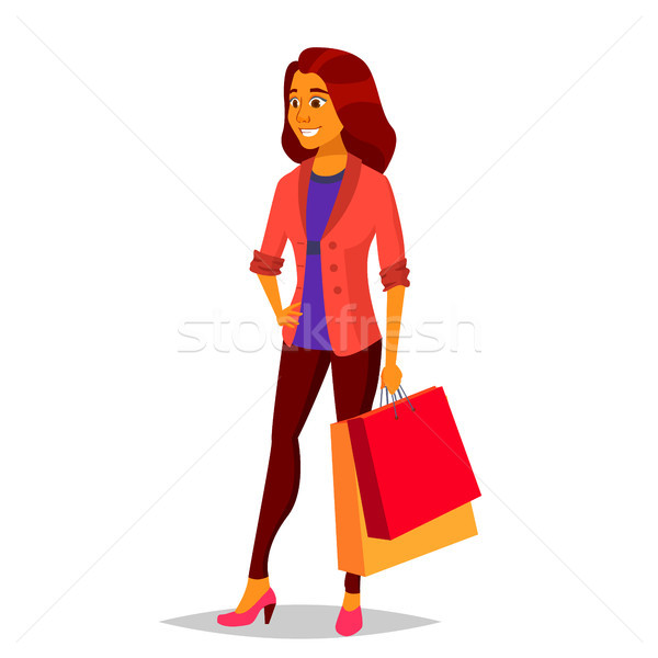 Shopping Woman Vector. Purchasing Concept. Shopping Day. Holding Paper Packages. Business Isolated C Stock photo © pikepicture