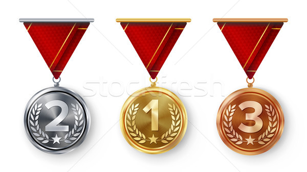 Champion Medals Set Vector. Metal Realistic First, Second Third Placement Achievement. Round Medals  Stock photo © pikepicture