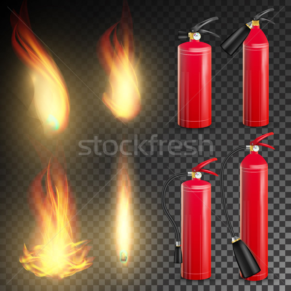 Fire Extinguisher Vector. Sign 3D Realistic Fire Flame And Red Fire Extinguisher. Transparent Backgr Stock photo © pikepicture