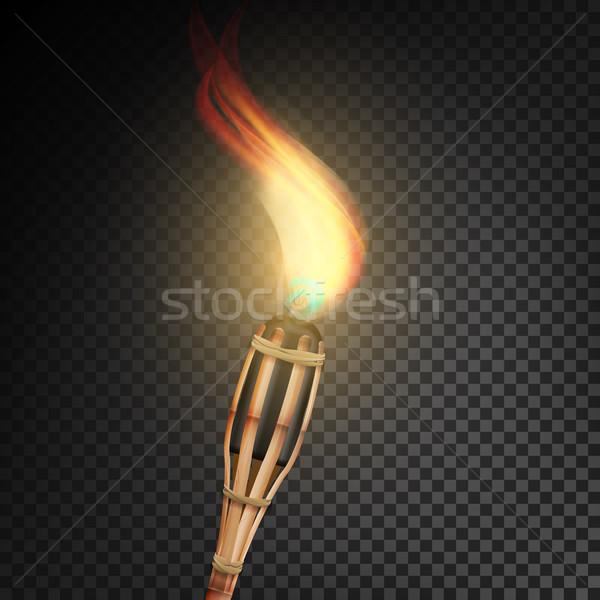 Brûlant plage bambou lampe de poche flamme réaliste Photo stock © pikepicture
