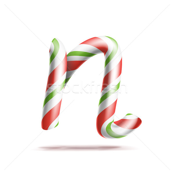 Letter N Vector. 3D Realistic Candy Cane Alphabet Symbol In Christmas Colours. New Year Letter Textu Stock photo © pikepicture