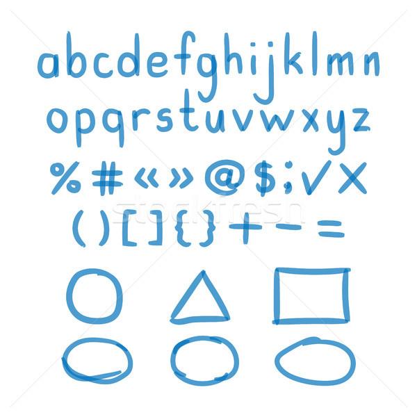 Stockfoto: Fiche · hand · geschreven · doodle · brieven · wiskundig