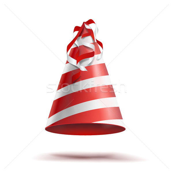 Party Hat Vector. Classic Red, White Striped Craft Birthday Hat. Isolated Stock photo © pikepicture