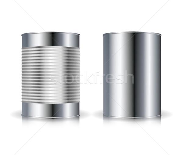 Metallic Cans Vector. Set Metal Tin Can Set Vector Illustration Stock photo © pikepicture