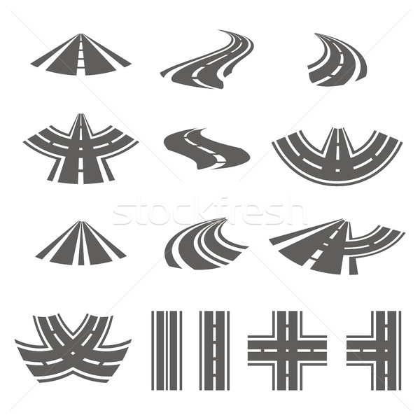 Curving Road Vector Set. Asphalt Roads Or Way And Curve Roads Highway. Stock photo © pikepicture