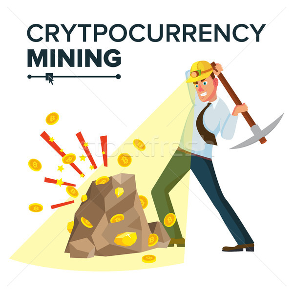Miner Young Male Vector. Mining Gold Coins. Cryptocurrency Concept. Isolated On White Cartoon Charac Stock photo © pikepicture