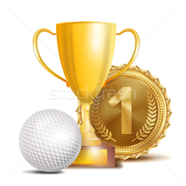 Golf Award Vector. Sport Banner Background. White Ball, Gold Winner Trophy Cup, Golden 1st Place Med Stock photo © pikepicture