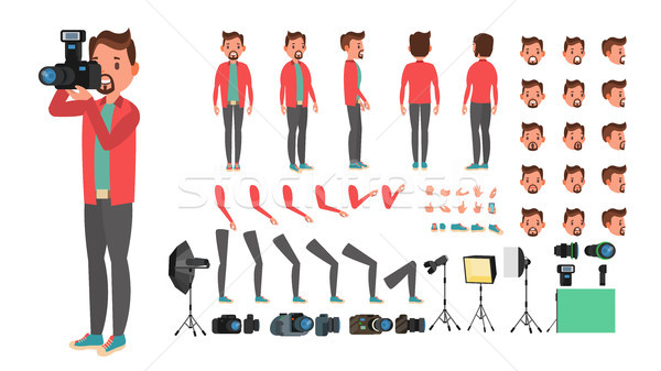 Photographer Vector. Taking Pictures. Animated Man Character Creation Set. Full Length, Front, Side, Stock photo © pikepicture