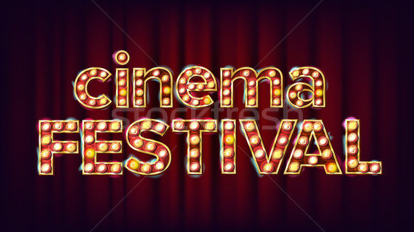 Cinema Festival Sign Vector. Cinema Lamp Background. For Concert, Party Advertising Design. Retro Il Stock photo © pikepicture