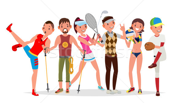 Summer Sports Vector. Set Of Players In Boxing, Hiking, Basketball, Volleyball, Golf, Baseball. Isol Stock photo © pikepicture