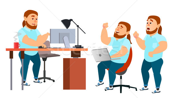 Business Man Character Vector. Working Boy, Man. Team Room. Brainstorming. Environment Process In St Stock photo © pikepicture
