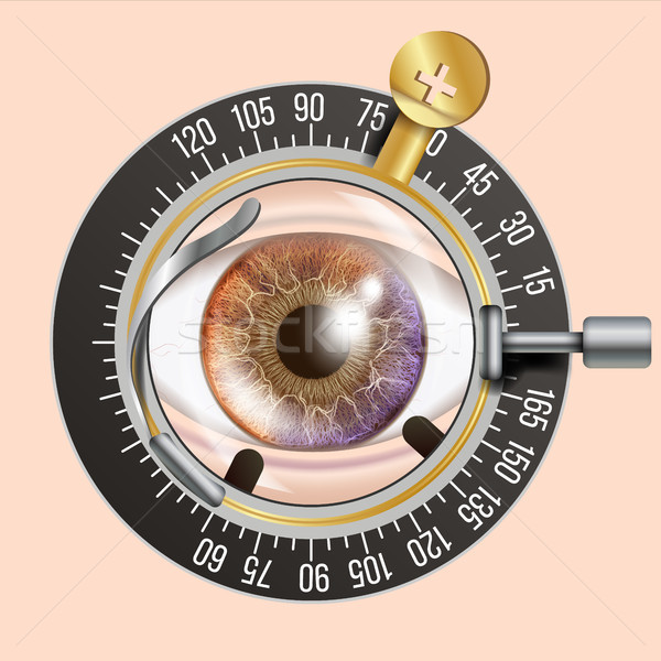 Eye Test Banner Vector. Trail Frame. Diagnostic Equipment. Optometrist Check. Care Illustration Stock photo © pikepicture