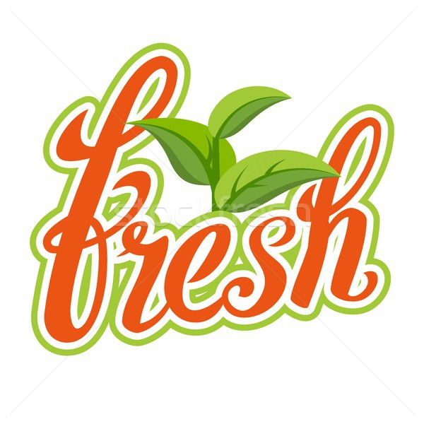 Fresh Sigh Vector. Healthy Life. Handmade Calligraphy. Organic Natural Product. Isolated Illustratio Stock photo © pikepicture