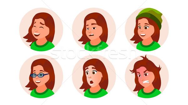 Fiatal lány avatar vektor tini női arc érzelmek Stock fotó © pikepicture