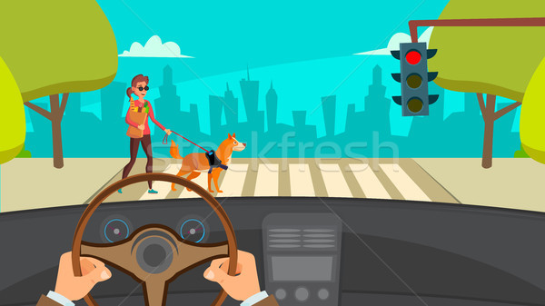 Hands Driving Car Vector. Highway. Inside A Car. Flat Illustration Stock photo © pikepicture